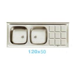 سینک معمولی اخوان 2 لگنه براق 9 مربع سرامیکی 120x50